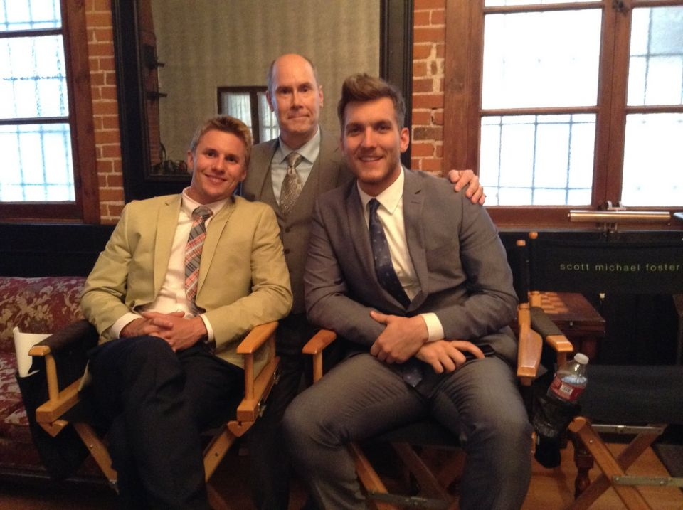"With Scott Michael Foster and Tyler Sellers on the set of ""Chasing Life"""
